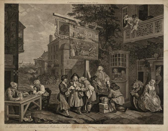Four Prints of an Election, plate 2: Canvassing for Votes, engraved by Charles Grignion 1757, published 1758 by William Hogarth 1697-1764